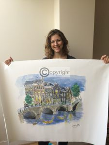 Canvas doek Amsterdam illustratie