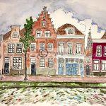 grachtenpanden Haarlem tekening