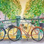 Tekening fiets Amsterdam