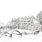 Amsterdam pentekening bruggen