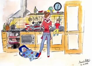 tekening moeder tijdens spitsuur