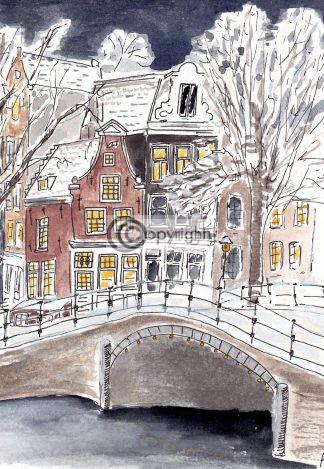 Amsterdam grachtenpand tekening