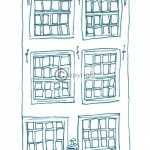 geboortekaartje Amsterdam grachtenpand tekening jongen