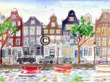 Amsterdam tekening grachtenpanden