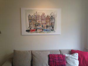 Amsterdam illustratie grachtenpanden op canvas doek
