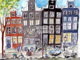 Tekening Amsterdamse grachtenpanden