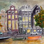 Amsterdamse grachtenpanden tekening