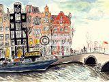 illustratie woonboot Amsterdam