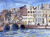 tekening Amsterdamse grachten nacht