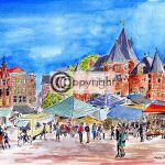 aquarel nieuwmarkt
