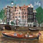 tekening geboortekaartje Amsterdam