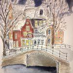 grachtenpanden Amsterdam tekening
